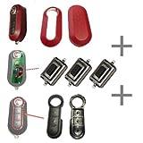 Für Fiat 500 Bravo Evo Doblo Ducato Schlüssel Funkschlüssel Autoschlüssel 1x Tastenfeld Gummi + 1x Gehäuse + 3x Mikroschalter Taster