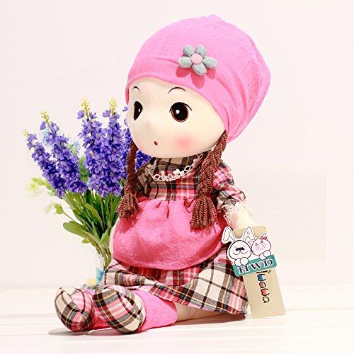 VERCART Puppe Tuch Doll Little Stuffed Spielzeug Interaktive Kinder Girl Junge Lernspielzeug Geburtstag Geschenk Rosa 40cm