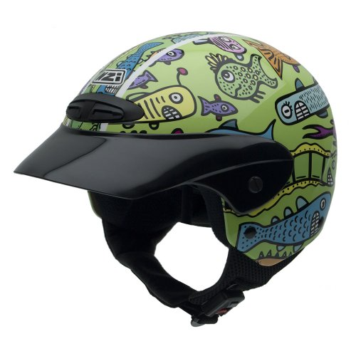 NZI 050255G408 Single Jr Graphics Happy Fish Motorcycle Helmet, Size 52-53 (L)