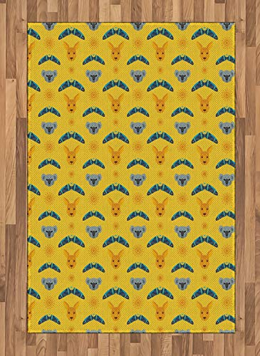 ABAKUHAUS Känguru Teppich, Aboriginal Art Boomerang, Deko-Teppich Digitaldruck, Färben mit langfristigen Halt, 120 x 180 cm, Mehrfarbig