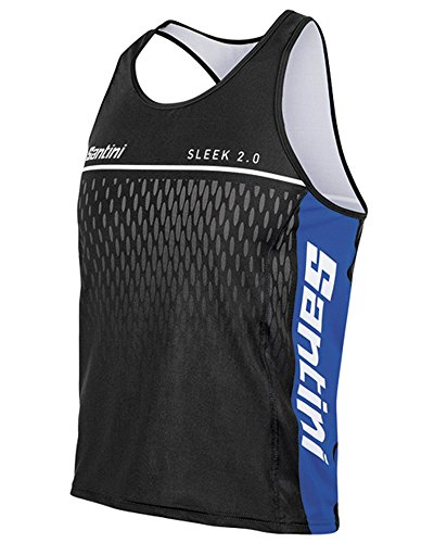 Santini Fashion Sleek Aero Road Short Sleeve Jersey xl schwarz - Black/Royal Blue Aero Vest