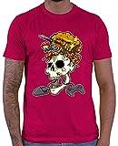 HARIZ  Herren T-Shirt Skelett Kopf Explosion Gamer Gaming Fun Retro Zocken PC E-Sport Inkl. Geschenk Karte Sorbet Rot M