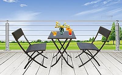 3tlg. Poly Rattan Balkonset Gartenset Bistroset GARTENMÖBEL SET Sitzgruppe M2