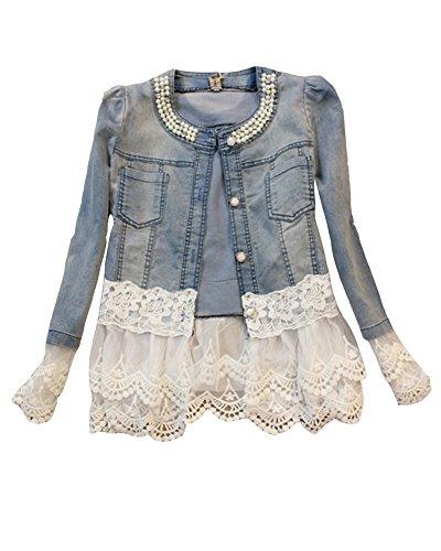 Laozana giacca donna giacca in jeans corta giubbotto denim manica lunga pizzo elegante casual giubbino blu s