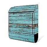 BANJADO Design Briefkasten schwarz/38x47x13cm groß mit Zeitungsfach/Stahl pulverbeschichtet/Wandbriefkasten mit Motiv Blaue Holzlatten, Briefkasten:ohne Standfuß