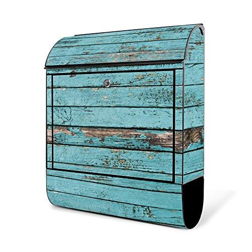 BANJADO Design Briefkasten schwarz | 38x47x13cm groß mit Zeitungsfach | Stahl pulverbeschichtet | Wandbriefkasten mit Motiv Blaue Holzlatten | ohne Standfuß