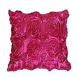 San Bodhi® Quadratisch Satin 3D Rose Blume Überwurf Kissen Schutzhülle Sofa Home Raum Auto Sitz Dekor