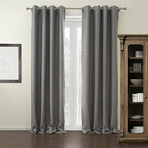 IYUEGOU Modern Grey Solid Grommet Top Blackout Curtains Draperies With Multi Size Customs 100 W x 96 L (One Panel) by iyuegou -