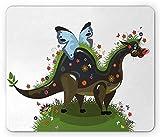 Fantasie-Mausunterlage, Schmetterling, der Einen Lustigen Drachen mit Blumen Kinderkinderkarikatur, Standardgröße Rechteck-Rutschfesten Gummi Mousepad, Armee und olivgrünes Blau Reitet