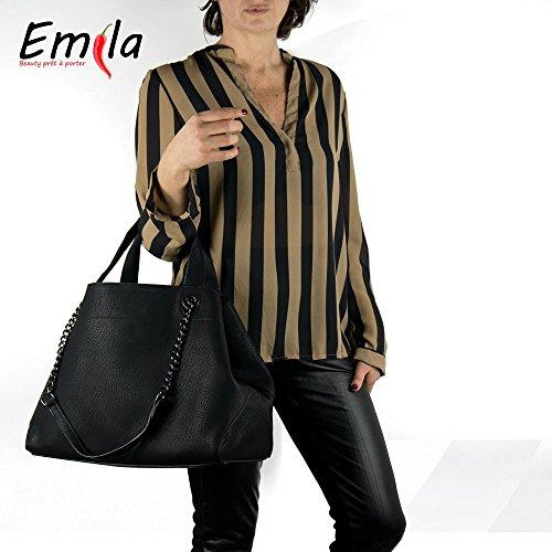 Emila borsa da donna sacco o bag grande a spalla mano con tracolla catena capiente nero e marrone in ecopelle nero