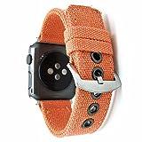 Apple Watch Band, Gewebe der Leinwand Gurt Armband Weiche Sport Armband mit Adapter für Apple Watch Serie 3/2/1, 38 mm, Orange