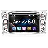 """PUMPKIN Android 6.0 Autoradio DVD Player mit 2GB Arbeitsspeicher, GPS Navi für Ford Focus Mondeo Galaxy S-MAX Unsterstützt DAB+ Bluetooth WLAN USB SD CD Lenkradfernbedienung 7"""" 18cm Bildschirm Silber"""