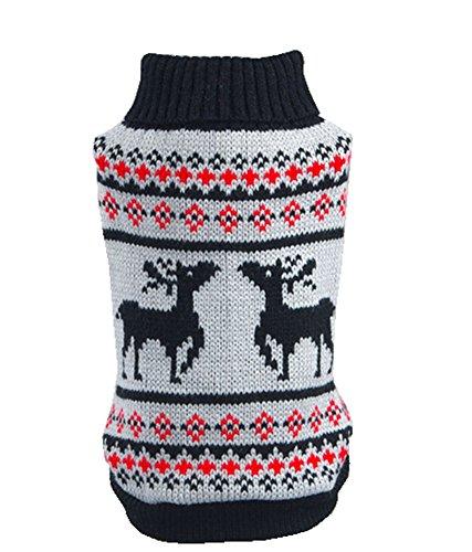 Gwood Neue Herbst/Winter-Tier-Kostüm Hund-Pullover Marine Bow-Haustier-Pullover Sweaters für VIP Bichon Pommerschen Chihuahua Dog (Blau Hirsch, XS)