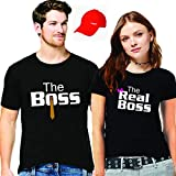 Hangout Hub Couple Tshirts The Boss The Real Boss Printed Blackcolor Men-L,Women-XL