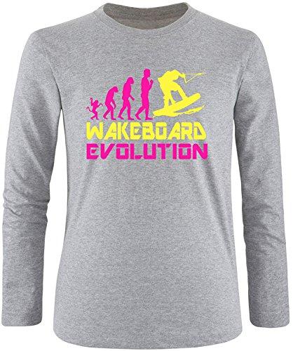 EZYshirt® Wakeboard Evolution Herren Longsleeve Grau/Pink/Gelb