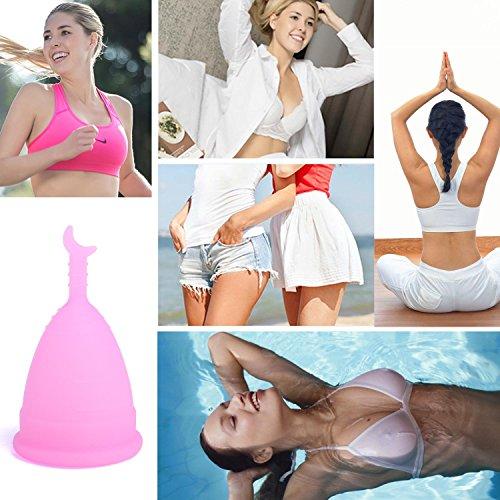 Leegoal (TM) Menstruationstasse, wiederverwendbar, umweltfreundlich, von der FDA zugelassen, Silikon, rose, Large - 7
