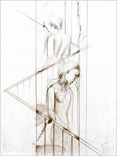 Posterlounge Acrylglasbild 90 x 120 cm: Treppenszene von Oskar Schlemmer/akg-Images - Wandbild,...