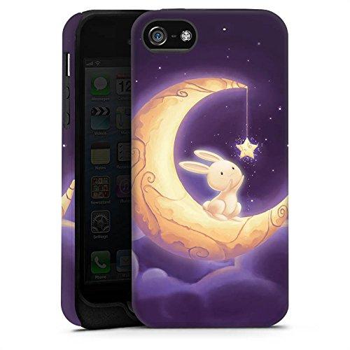 Apple iPhone X Silikon Hülle Case Schutzhülle Häschen Mond Himmel Tough Case matt