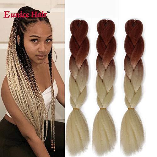 6 Packs Eunice Hair Jumbo Flechten Hair Extensions Colorful Kunsthaar Kanekalon Haar für Heimwerker Crochet Box Zöpfe Ombré-Blond 2 Tone Color 100 g/pcs 61 cm (brown-613)