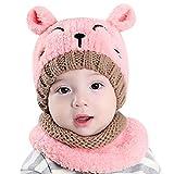 Anywow 2 stücke Baby Kinder Cartoon Fleece Mütze Winter Ohrenhaube Warme Mütze Ski Cap mit Nackenwärmer für Mädchen Jungen Kappe 0-3J