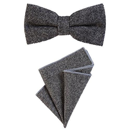 DonDon Herren Fliege 12 x 6 cm gebunden längenverstellbar und Einstecktuch 23 x 23 cm farblich passend aus Baumwolle dunkelgrau schwarz (Passend Grau)