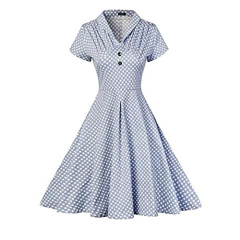 Yiye Retro Blumen Baumwolle Damen Kleider JSF-093, Blau, 38