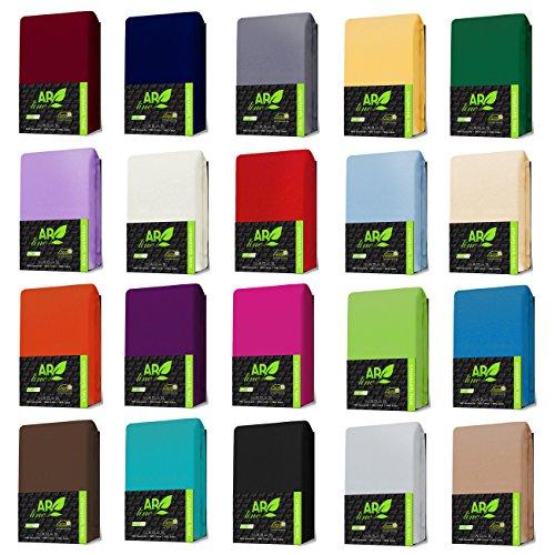 JERSEY Spannbettlaken 100% Baumwolle Spannbetttuch in Farbe: Anthrazit-Grau; Größe: 90 x 190 cm - 100 x 200 cm