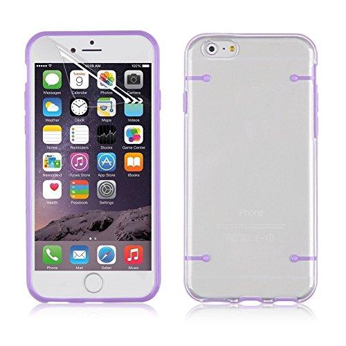 Coque Iphone 6/6S, XIAN Transparent YiFeng Housse étui coque Bumper en gel silicone TPU avec arrière rigide transparent pour Apple iPhone, Silicone, violet, iPhone 6 / 6s