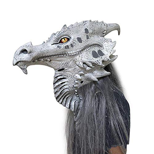 Circlefly Lebensechte Monster Maske Horror Halloween Silver Dragon Latexmaske Kostüm-Party Gruselige Requisiten
