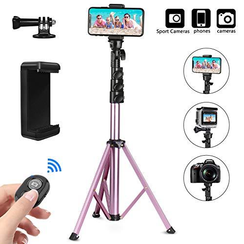 PEYOU Perche Selfie Trépied,135cm/54'' Extensible 360°Selfie Stick Monopode avec Amovible Télécommande Bluetooth et Adaptateur GoPro compatible pour iPhone X XR XS Max 8 7,Smaung,Gopro,Appareils Photo
