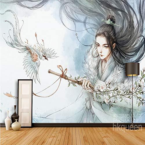 Moderne Cartoon Kostüm Mann Schwert Hintergrund Wohnzimmer Arbeitszimmer Tapete Büro Dekoration Wandbild-500cm(W) x320cm(H) ()