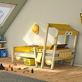 WICKEY Letto per bambini con tetto CrAzY Finny Letto da gioco con prua e vela Letto avventuroso con rete a doghe blu