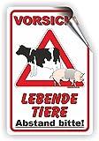 VORSICHT! Lebende Tiere Transport / Tiertransport / T-013 (20x30cm Aufkleber)