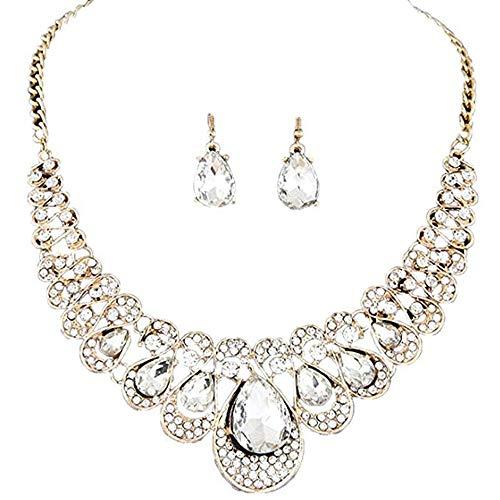 Scpink Vendita liquidazione, Collana + orecchini gioielli Set da donna stile misto Bohemia colore bavaglino collana orecchini gioielli (Chiaro)