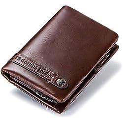 Cartera Hombre de Cuero, Billetera Elegante para Las Ocasiones Especiales, Proteccion RFID, 9 Ranuras de Tarjetas + Compartimento con Visor para Poner el DNI y carnet de conduc (Coffee)