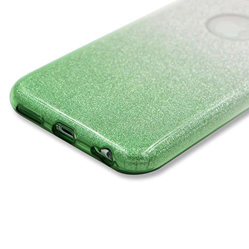 Custodia per iPhone 6S PlUS, Case Cover per iPhone 6S PlUS 5.5, [ Soft TPU + Glitter Paper + Hard PC ] 3 in 1 Hybrid Layers Protection Back Cover, Silm Thin (Verde) Skin Cases per Apple iPhone 6S PlU Verde