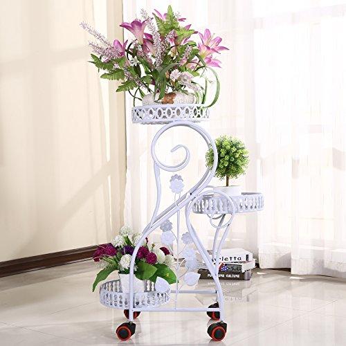 ZH Eisen Blumenregale Europäischen Mehrstöckigen Innenraum Balkon Boden Blumentöpfe Grüne Rettich Orchidee Regal,A,Hohe 80 cm