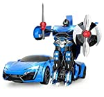The Flyers Bay One Button Transforming Car into Robot with Cool Dance Features, Blue