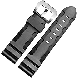 New 24mm Black Silicone Rubber Diver Watch Band Strap Buckle Fit PANERAI PAM111
