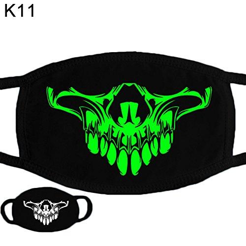 (Mundmaske, NimbleMinLki, Halloween-Totenkopfmuster, weiche Baumwolle, leuchtende Maske für den Winter, Unisex – K01)