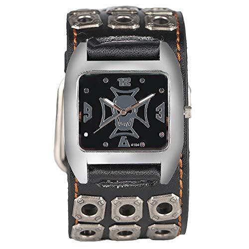 Herren-Armbanduhr, Manschette Special Design Skull Uhr für Herren Damen, Casual Hohl Leder Band Strap Armbanduhr