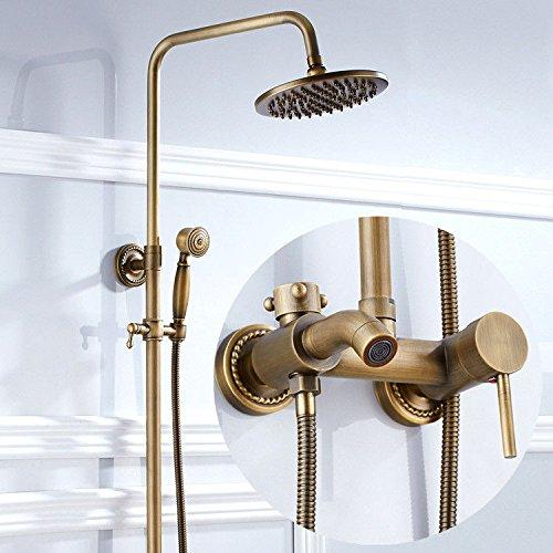 AQMMi Wasserhahn Wasserfall Armatur Waschtischarmaturen Dusche Messing Antik Regendusche Set Badewanne Heißes Und Kaltes Wasser Bad Armatur Für Badezimmer Waschbecken
