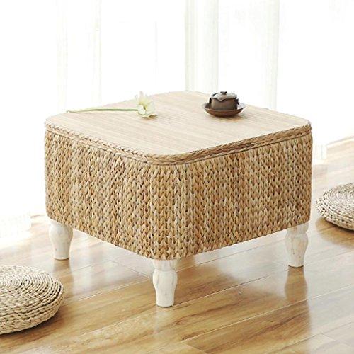 Table à thé en rotin fait main en bois massif table basse de style japonais petite table apprentissage table basse de loisirs (Size : 60 * 60 * 45cm)
