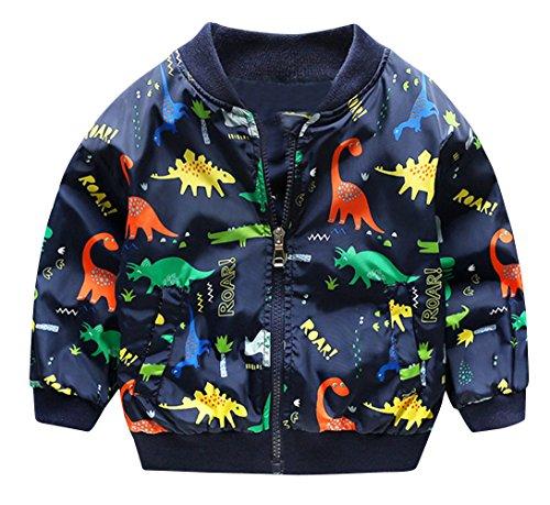 HARVEY JIA - Niños Chaqueta de Otoño Primavera con Estampado Dinosaurio Transpirable Abajo Chaqueta Bebé Niña Cómoda Outwear Mantener Calor Suave - Azul - 6-7 Años