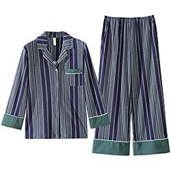 ALUK- Conjunto de chándal de algodón y pantalón de pierna ancha de algodón coreano de primavera y otoño ( Color : Verde , Tamaño : XL )