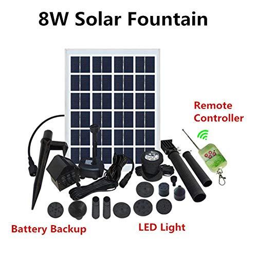 Hiyougen Solar-Tauchpumpe für Tauchpumpen mit Batterie-Backup und LED-Leuchten Solar Power Panel Verbesserte Tauchsprühpumpen 12V / 8W 350L / H Led-batterie-backup