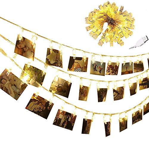 chrislz Foto Clip Lichterkette 80 Foto Clips 10 m LED Bild Licht Weihnachten Beleuchtung Starry Licht Wand Hochzeit Party Dekoration Light USB Lichterkette, 80LED (Hochzeit Lichter 10 Meter)