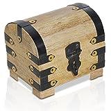 Kleine Schatztruhe 11x7x9cm Holztruhe Schatzkiste Vintage Look Antikes Design Piraten Schatzsuche Holz Rot Braun Schwarz Spardose Schmuck-Schatulle Bauernkasse Holz Sparkasse Truhe