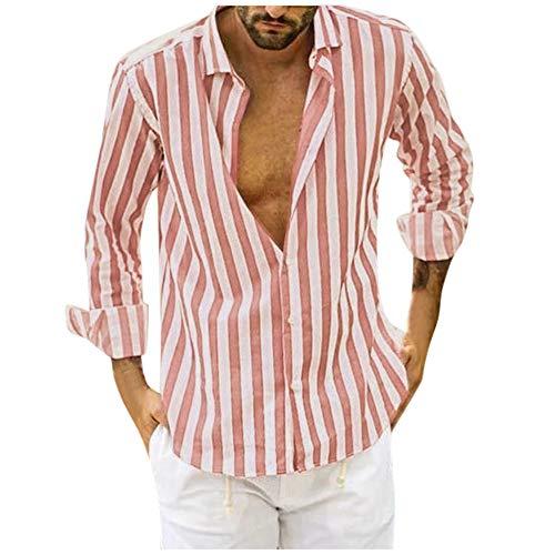 Aiserkly Männer Striped Langarm Button Down Freizeithemden Slim Fit Herrenhemd für Anzug Hochzeit Freizeit Rosa L - Olive Nadelstreifen-anzug