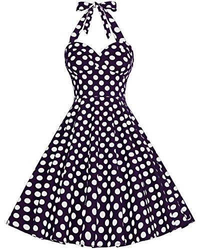 Bbonlinedress modèle 4 Vintage rétro 1950's Audrey Hepburn robe de soirée cocktail année 50 Rockabilly style halter Marine à grand pois blanc